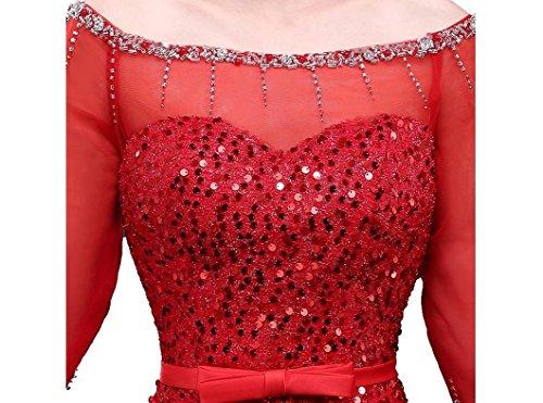 Schulterfrei Abendkleider Hülsen halbe Emily Ausschnitt Boot Lange Transparent Beauty Blau qAaXK