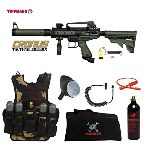 MAddog Tippmann Cronus Tactical Lieutenant Tactical Camo Vest Paintball Gun Package - Black/Olive Black Star Paintball Tank