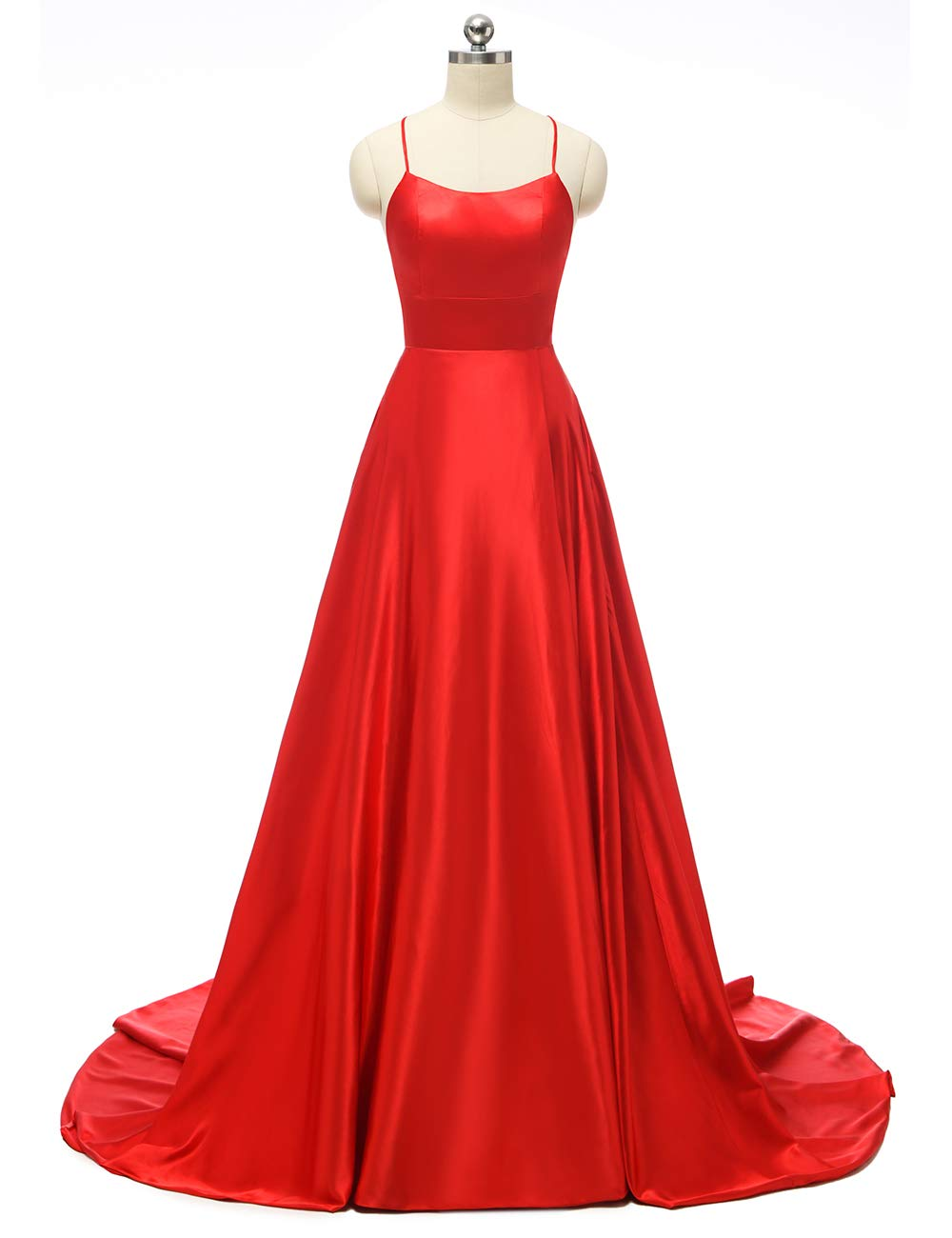 JASY Women's Spaghetti Satin Long Black Side Slit Prom Dresses with Pockets by JASY (Image #3)