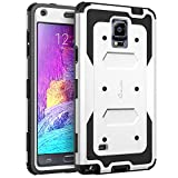 (US) Galaxy Note 4 Case, i-Blason Armorbox Dual Layer Hybrid Full-body Protective Case For Samsung Galaxy Note 4 [SM-N910S / SM-N910C] with Front Cover and Built-in Screen Protector / Impact Resistant Bumpers (White)