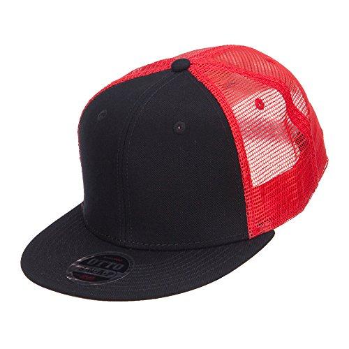 Mesh Premium Snapback Flat Bill Cap - Black Red OSFM