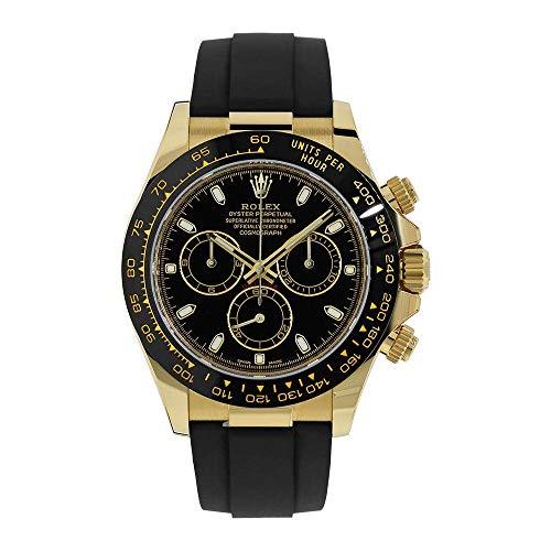(Rolex Cosmograph Daytona 40MM Black 18K Yellow Gold Mens Watch 116518LN)