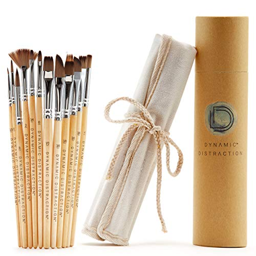 Dynamic Distraction Acrylic Paint Brush Set of 12 - Comfortable Handle Size - Professional Artist Quality - Perfect for Acrylic, Watercolor and Gouache