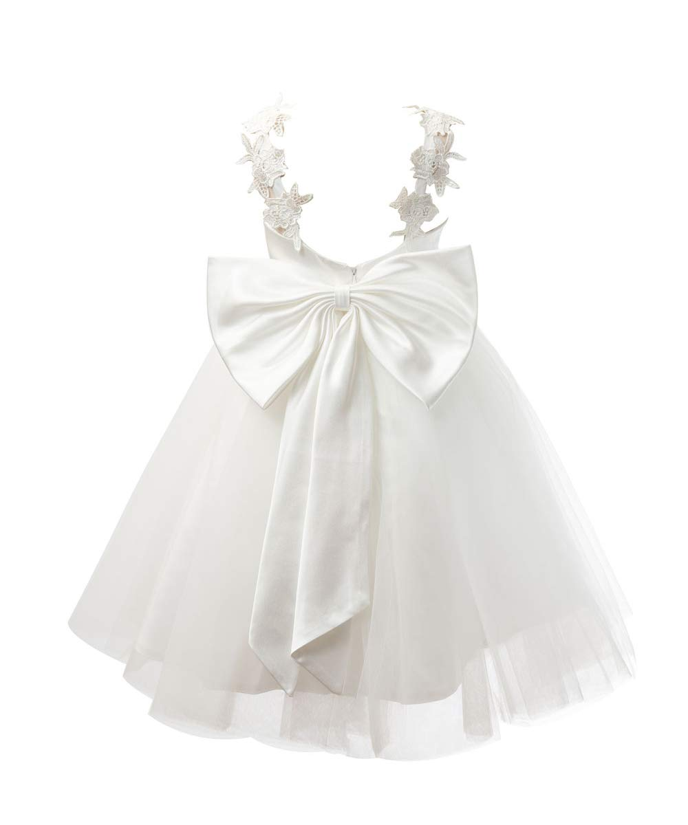 Miama Ivory Lace Tulle Backless Wedding Flower Girl Dress Junior Bridesmaid Dress by Miama (Image #2)