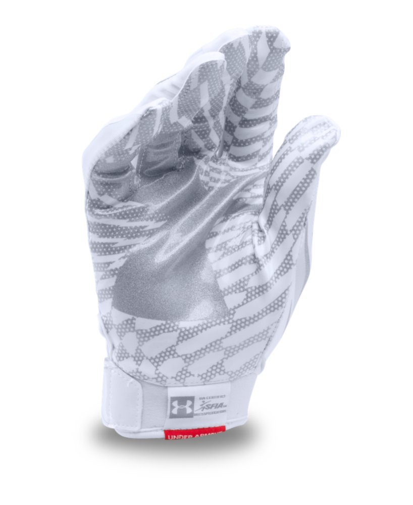 Under Armour Mens F5 Football Gloves, White/Metallic Silver, Small by Under Armour (Image #2)