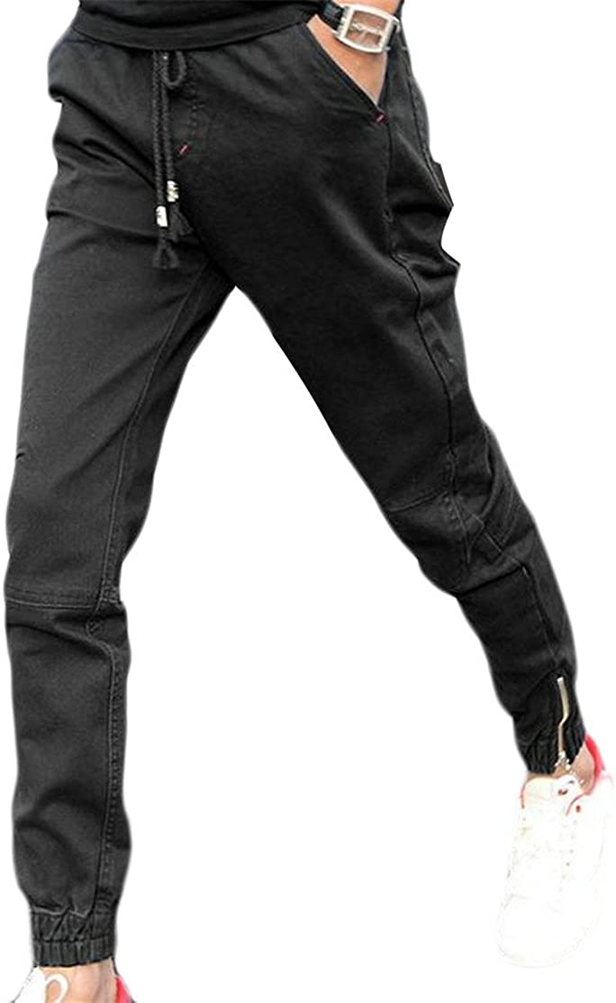 UUYUK Men Straight Leg Big and Tall Cotton Cargo Sport Pants