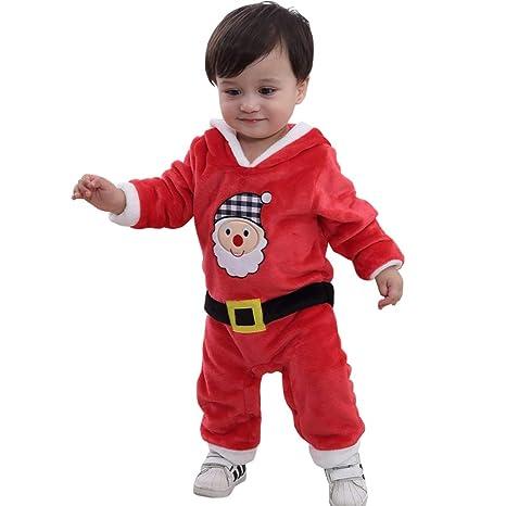 Bebé Navidad Mameluco Invierno Mono Papá Noel Pelele Franela Manga Larga Body