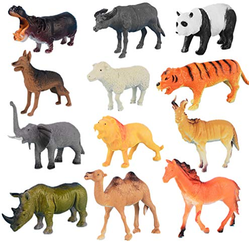 Littleice 40pc Rubber Animal Model Kids Childrens Assorted Plastic Toy Wild Animals Jungle Zoo Figure