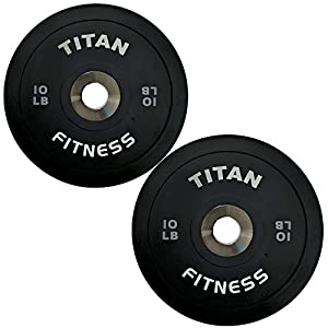 Titan Elite Olympic Bumper Plates 10 25 35 45 55 LB Black Steel Disc