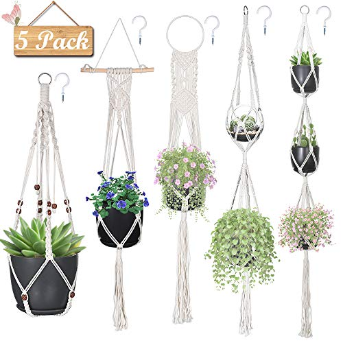 HmiL-U Macrame Plant Hangers, Hanging Planters Set of 5 with 5 Hooks, Hanging Planters for Indoor and Outdoor Plant Décor, Different Tier (5 Sizes)