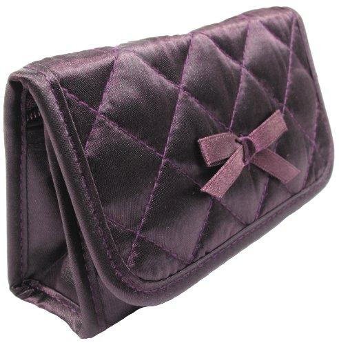 Cosmetic Bag with a Mirror, Small Size, Satin (Satin Makeup Bag)