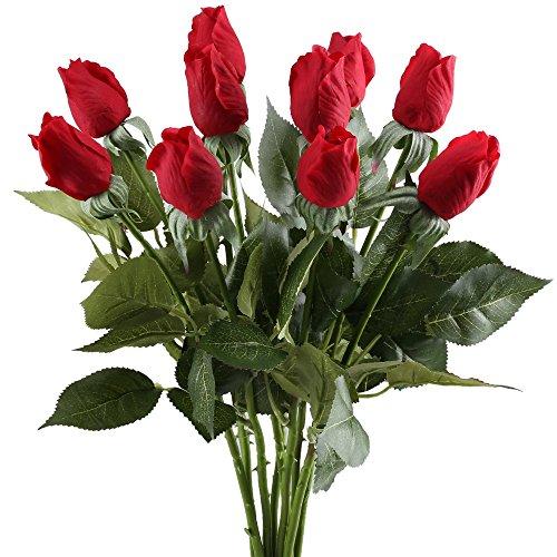 Buds Arrangement - Nahuaa Artificial Rose Flowers, 10PCS Fake Silk Floral Bundles Faux Bride Bouquets Home Kitchen Office Windowsill Floor Vase Wedding Table Centerpieces Arrangements Spring Decorations Red