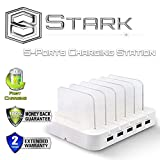 Stark 5-Port USB Charging Station Dock for iPhone 6 Plus/6/5S/5C/5/4S, iPad Air/Mini/3/2/1, Samsung Galaxy S6 Edge/S6/S5/S4/S3/Note/Note2/Tab, iPod, Nexus, HTC, and more