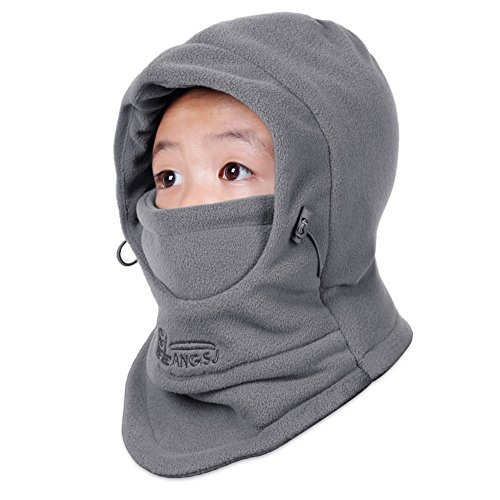 ONIMA Kids Windproof Double Thick Fleece Hoody Balaclava Outdoor Sledding Skiing Cap (Dark Gray)