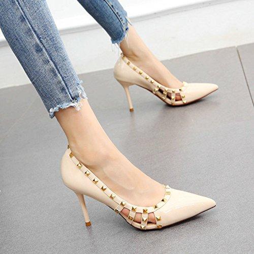 donna A spillo con pelle bassa sexy alto scarpe lavoro tacco Rivetti in cava verniciata YMFIE da moda bocca a w801xYU