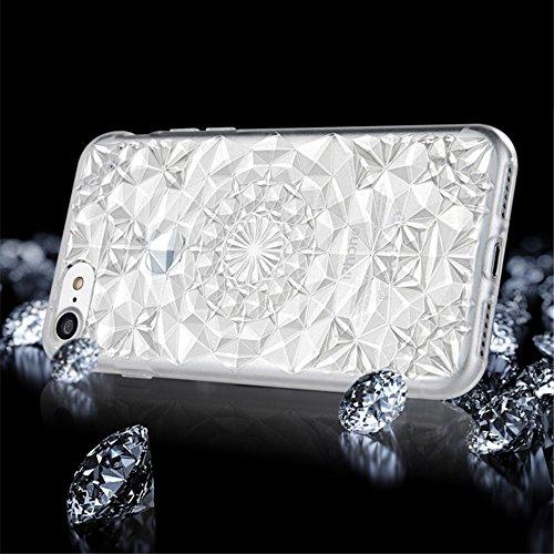 SULADA Luxury Crystal Sparkle 3D Diamond-shaped Design Flexible TPU Protective Tasche Hüllen Schutzhülle - Case für iPhone 7 Plus - Weiß