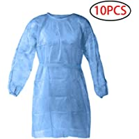 10/25/50pcs Disposable Protective Clothing, with Elastic Cuff, Knitted Cuff, Latex- Free, Non-Woven, FluidResistant, Dental, Hospital, Industries, Size Universal (10pcs)