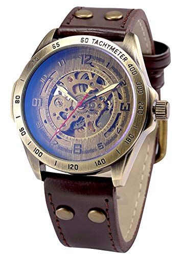 Mens Steampunk Skeleton Case Automatic Mechanical Self-Winding Leather Sport Wrist Watch (Bronze)