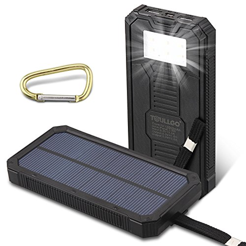 Amazon.com: Solar Charger 12000mAh Solar Power Bank Charger ToullGo® Portable Solar Battery Charger Battery Backup with Flashlight for Cell Phone iPhone 6 ...