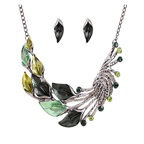 Marvella Green Earrings (Darkey Wang Women's Fashion Jewelry Vintage Diamond Leaves Necklace Sweater Chain And Earrings Short Suit(Green))