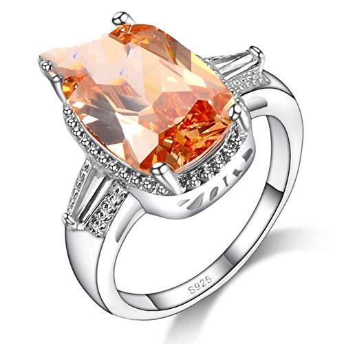 (HCBYJ Lady ring Orange Cubic Zirconia Crystal Ring Sterling Silver 925 Wedding Ring)