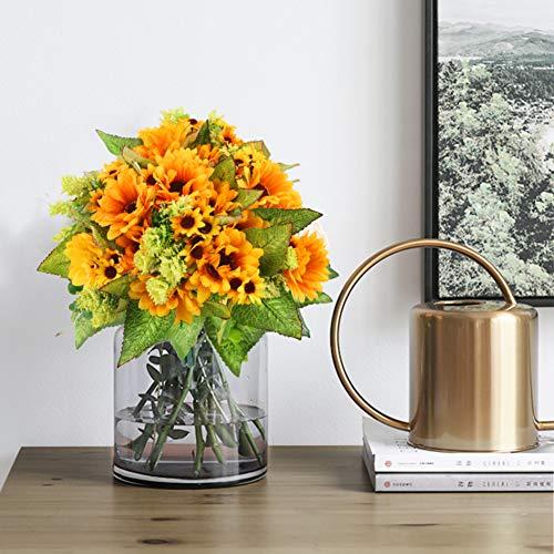JOHOUSE 5PCS Artificial Sunflower Bouquet, 9.8inch Silk Sunflower Wedding Flower, Home Decoration Wedding Decor