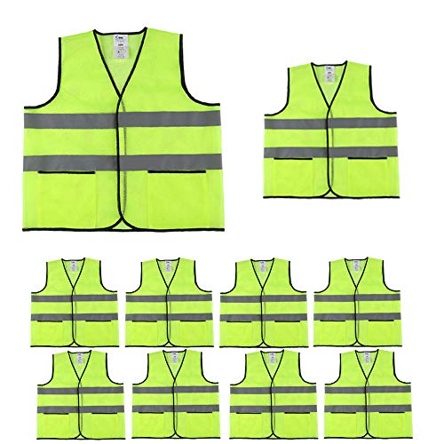 - CIMC,Yellow Reflective Safety Vest with Pockets,10 Pack,Bright Construction Vest with Reflective Strip,Made from Breathable Neon Yellow Mesh Fabric,High Visibility Vest for Woman and Men (neon yellow)