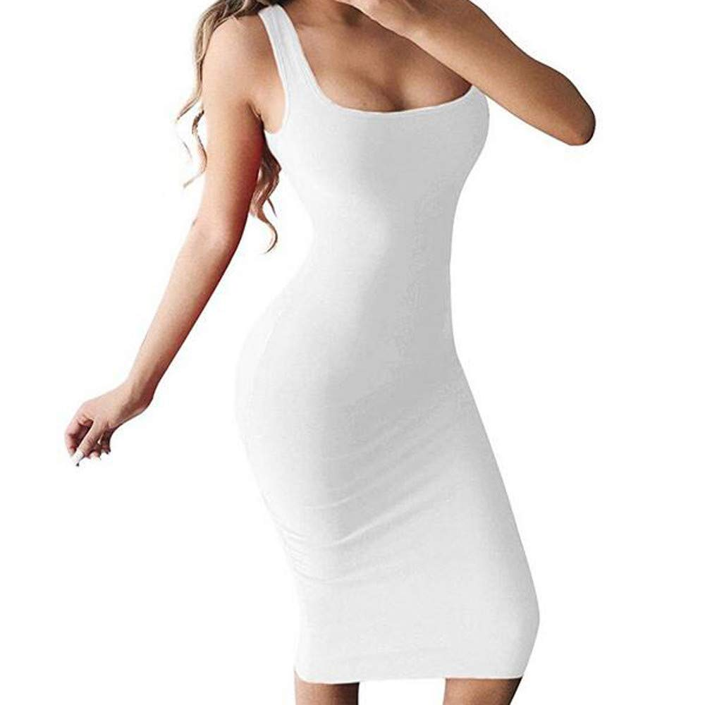 Riverdalin Women Sexy Bodycon Dress Ladies Club Party Tank Top Dress Sundress Wedding Party Dress for Summer White