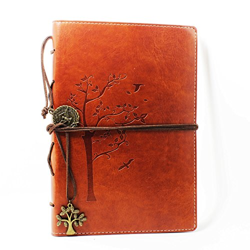 Valery Classic Leather Notebook Retro Vintage Diary & JournalStyle Tree Design-brown