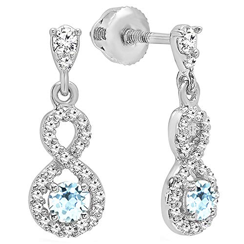 Dazzlingrock Collection 10K 3 MM Each Round Aquamarine & Diamond Ladies Infinity Swirl Dangling Drop Earrings, White Gold