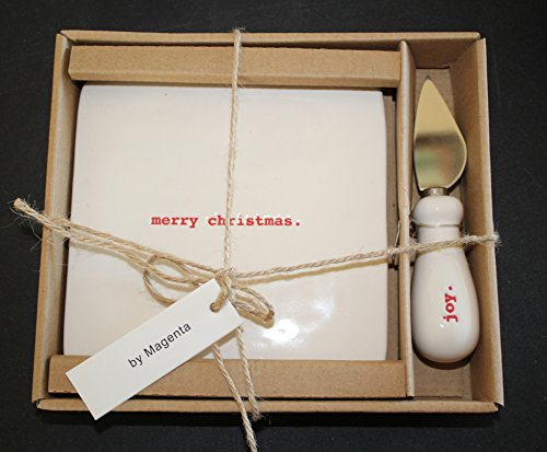 Rae Dunn Merry Christmas and Joy in Red tuypeset letters Cheese Cutting Board and Knife Set in Gift Box. By Magenta. Joy Red Letters