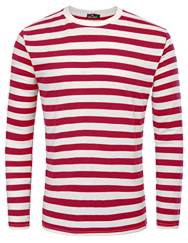 Men's Red and White Striped Shirt Crewneck Cotton T-Shirt (Red Stripe,XXL)