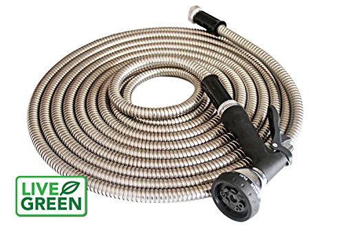 Stainless Steel Metal Garden Hose 50 ft. | Solid Stainless Steel 8 Way Nozzle | 10 Year Warranty | Good for Pets, Autos, Camping, Lawn, Indoors | Kink Free, Durable Metal Hose