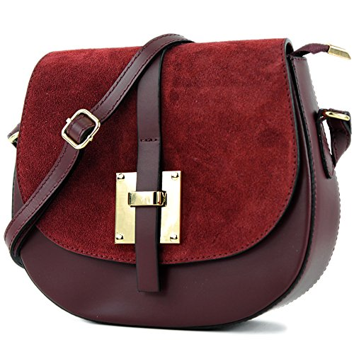 hombro pequeña bolsa de de Bordeauxrot de ital T170 cuero modamoda xtwv0qRIB
