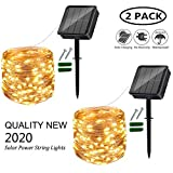 Solar String Lights Outdoor, 2 Pack 120LED Solar Garden Lights Waterproof 12M/40Ft 8 Modes Indoor/Outdoor Fairy Lights Copper Wire Decorative Lighting for Patio, Yard, Party, Wedding (Warm White)