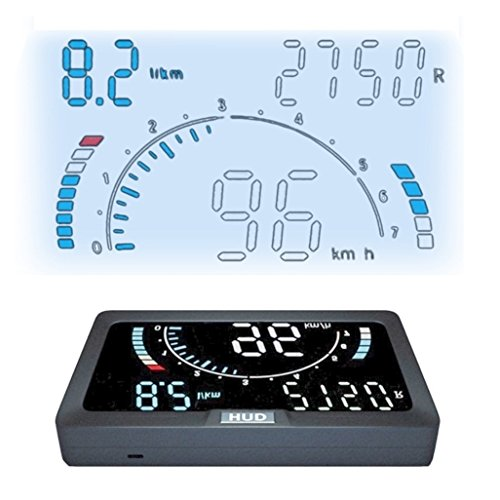 NikoMaku Heads Up Display For Cars HUD, OBD2 EUOBD Speedometer Windshield Project, 8 User Interface, 6 Display Functions + 6 Warning Functions, Automatic Brightness, Overspeed Alarm, Speed MPH Km/h