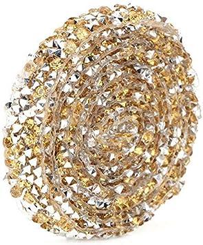 Crystal Yellow rollo del abrigo del acoplamiento del acoplamiento del cristal artificial de DIY para el vestido de boda Laptop Headwear Ajuste de la cadena del Rhinestone de la malla de 5 yardas