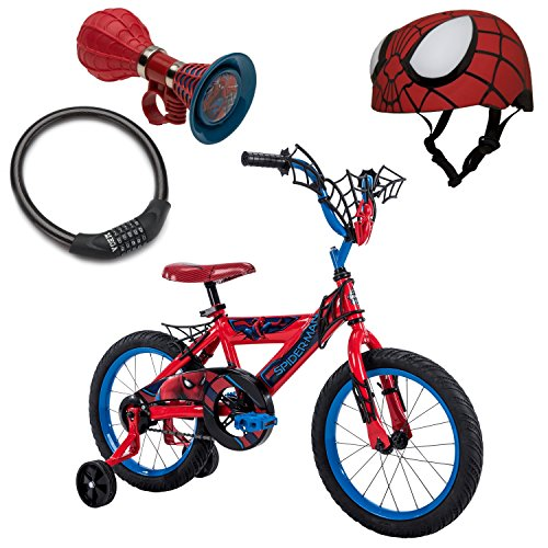 NEW! Huffy Marvel Spider-Man Homecoming 16″ Red Boys' Bike, Spider-Man Bike Helmet, Spider-Man 3D Webbed Horn, and Bike Cable Lock, Bundle