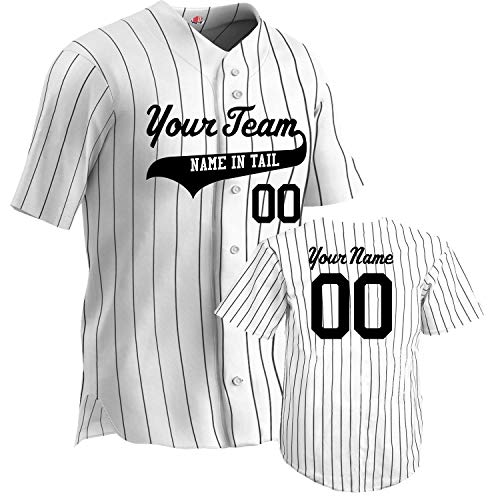 Custom Sleeveless Pinstripe Baseball Jersey 6 Button | White and Black | Adult X-Large Button Down Sleeveless Jersey