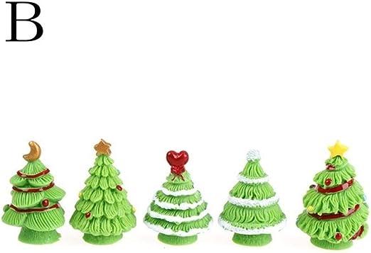 2 Pieces Micro Landscape Resin Bonsai Fairy Garden Christmas Decor Set
