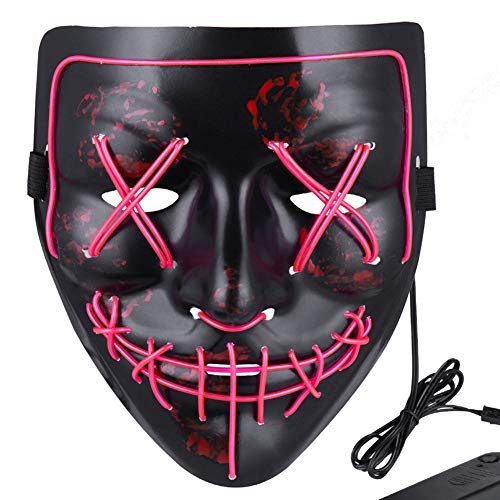 Anroll Halloween Mask LED Light Up Mask for Festival Cosplay Halloween Costume Pink ()