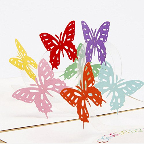 Butterfly Cellophane (Arich 3D Pop Up Card Butterfly Happy Anniversary Birthday Valentine Christmas)