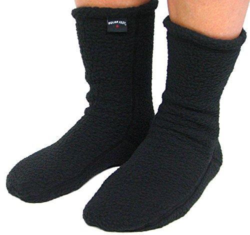 POLAR FEET Supersoft Nonslip Fleece Socks (L (W 10-11, M 9-11), Black) (Feet Polar Slippers)