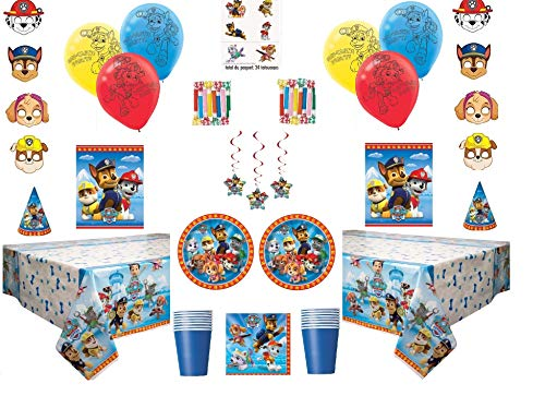 Paw Patrol Deluxe Party for 16 Guests - Includes Plates, Cups, Napkins, Birthday Hats, Balloons, Masks, Loot Bags, Hanging Swirls, Tattoos, Tablecovers, Blowouts - Decorations -