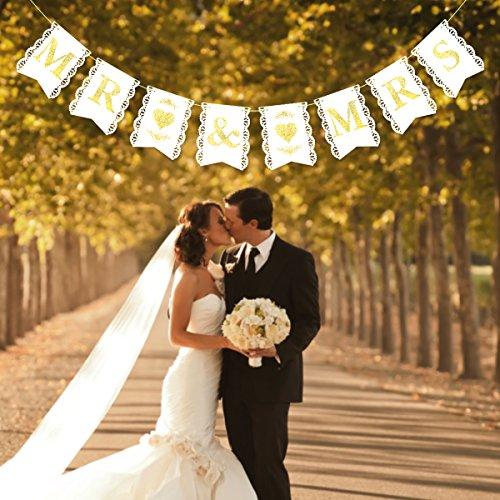 Unomor MR and MRS Banner Golden Glitter for Wedding Shower Decorations(6.9 X 5.5 inch) -