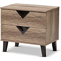 Baxton Studio Swanson Wood 2 Drawer Nightstand in Distressed Oak