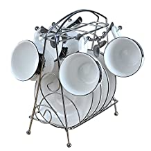 CLG-FLY Phnom Penh, creative continental coffee cup set 13 piece bone China coffee cup and saucer spoon rack,Black and white cappuccino Cup