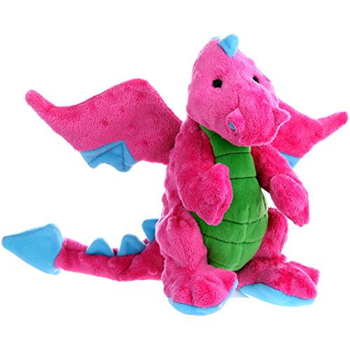 goDog Dragon With Chew Guard Technology Tough Plush Dog Toy, Pink, Large ()