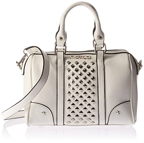 - Nikky Women's Silver Studs White Small Boston Bag Shoulder, One Size