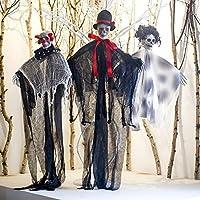 Ucradle 3 stuks hangende skelet spook Halloween decoraties hangende ghost voor voortuin, patio, gazon en tuin